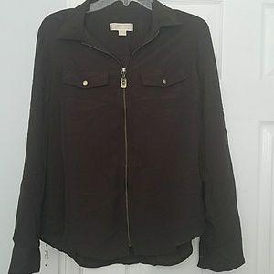 Brown sheer Michael Kors zip up blouse size large